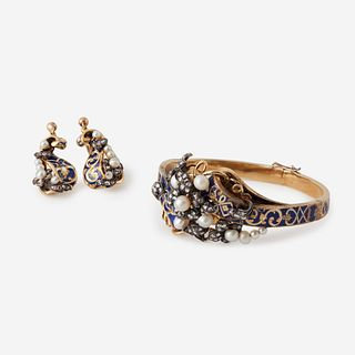 A Victorian eighteen karat gold, enamel, diamond, and pearl suite,