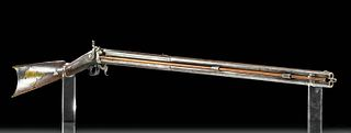 19th C. American Steel, Brass & Wood Rifle - R. Ashmore