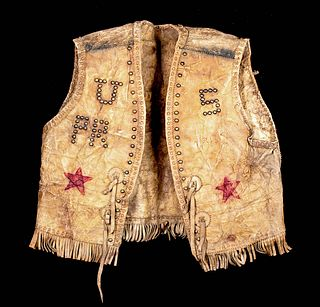 19th C. American Leather Vest for Wild West Performance