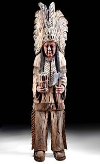 Antique American Painted Wood Cigar Store Indian