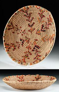 Early 20th C. American Pocumtuck Woven Raffia Basket
