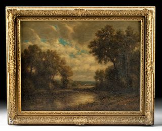 Framed 19th C. George Fields Painting - Distant Hamlet