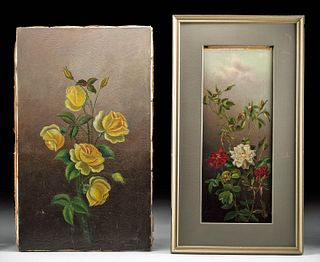 19th C. American Victorian Paintings with Roses (pr)