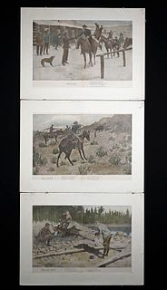 3 Remington Prints, 1903 - Oo-Yah!, Last Shot, At Last