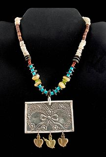 20th C. Mexican Stone Beads & Spratling Silver Pendant