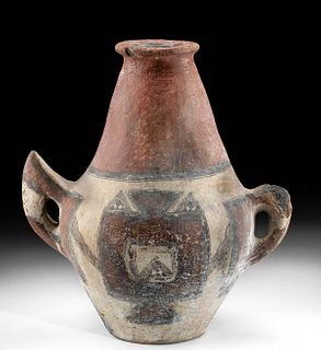 19th C. Algerian Berber Kabyle Polychrome Water Amphora