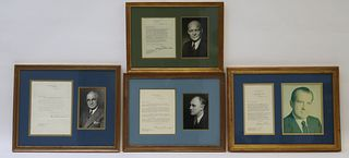 4 Presidential Signatures With Photos, Framed