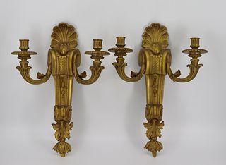 Large & Impressive Pair Of Gilt Bronze Sconces