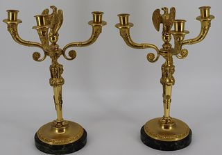 A Fine Pair Of Gilt Bronze Figural Candelabra