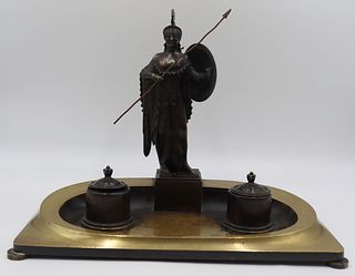 Classical Bronze Inkstand with Figure of Athena.