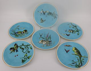 6 Minton Aesthetic Movement Blue Ground Butterfly