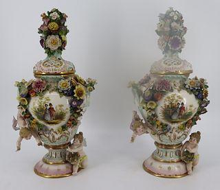 2 Meissen Style Lidded Porcelain Urns.