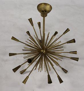 Midcentury Gilt Metal Sputnik Style Chandelier.