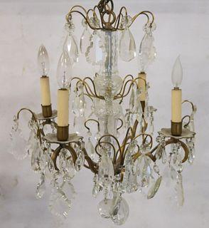 Baccarat Style Cut Glass & Gilt Metal Chandelier.