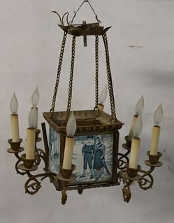 Antique Gilt Metal Chandelier With Delft
