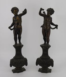 Antique Pair Of Cherub Form Andirons ?