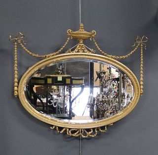 Antique Carved Gesso Gilt Adams Style Oval Mirror