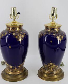Pair Of Antique Gilt Decorated Cobalt Porcelain