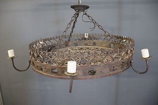 Wrought Iron Wheel Form Chandelier