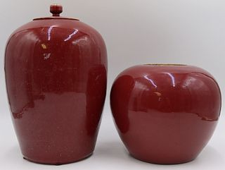 (2) 19th C Chinese Flambe Vases.