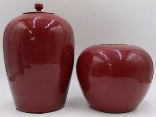 (2) 19th C Chinese Flambe Vases.
