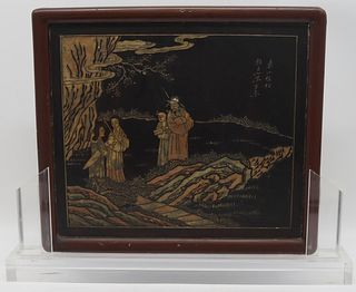 18th C Chinese Kang Xi Lacquered Table Screen.