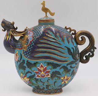 Chinese Cloisonne Phoenix Form Teapot.