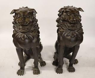 Impressive Life Size Pair of Bronze Foo Dogs.