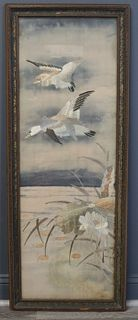 Framed Chinese Embroidery on Silk of Duck.