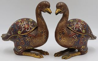 Pr of Chinese Cloisonne Duck Form Incense Burners.