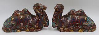 Pr of Cloisonne Camel Form Incense Burners.