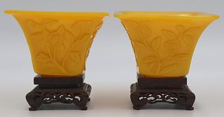 Pair of Chinese Carved Yellow Wine? Cups.