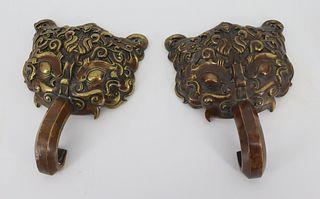 Antique Pair of Asian Bronze Foo Cabinet