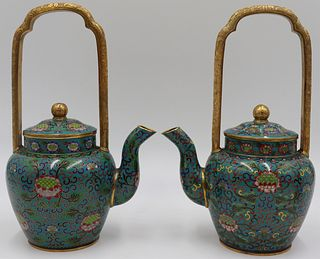 Pair of Chinese Cloisonne and Gilt Bronze Teapots.