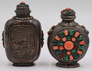 (2) Tibetan Silver Inlaid Snuff Bottles.