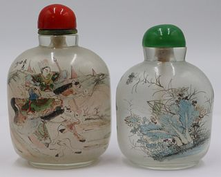(2) Large Reverse Painted Snuff Bottles.