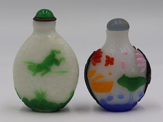 (2) Carved Overlay Glass Snuff Bottles.