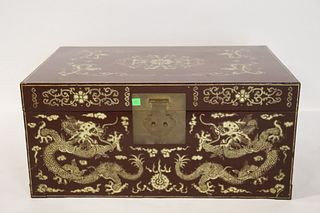 Vintage Asian Lacquered & Gilt Decorated Leather