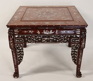 Asian Mother Of Pearl Inlaid Table.