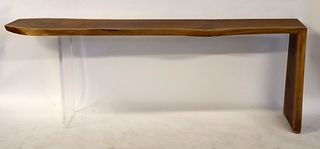 Midcentury Style Wood & Lucite Console.