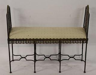 Oscar Bach Style Hammered Bronze Bench.