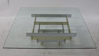 Paul Evans Style Two Tone Metal Coffee Table.