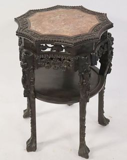 Antique Chinese Carved Pedestal Stand With Marble