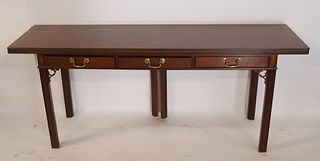 Baker Signed Mahogany Flip Top Console Table.