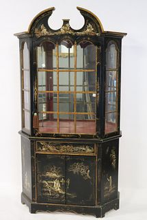 Antique Chinoiserie Decorated China Cabinet.