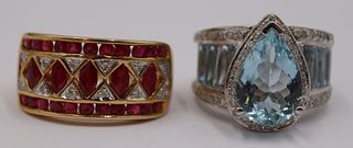 JEWELRY. (2) Gold, Colored Gem and Diamond Rings.