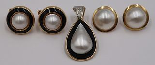 JEWELRY. 14kt Gold, Mabe Pearl and Diamond Jewels.