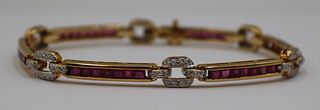 JEWELRY. 18kt Gold, Diamond, and Ruby Bracelet.