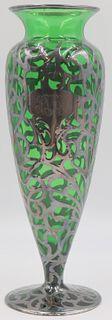 STERLING. Alvin Sterling Overlay Green Glass Vase.