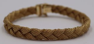 JEWELRY. Signed Italian 14kt Gold Woven Bracelet.
